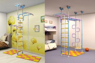 Интерьер детской комнаты для двух детей c шведской стенкой